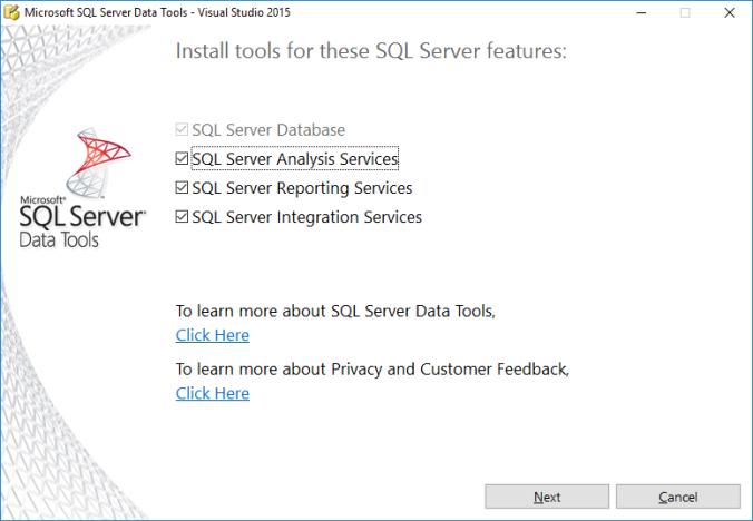 install SSDT vs2015