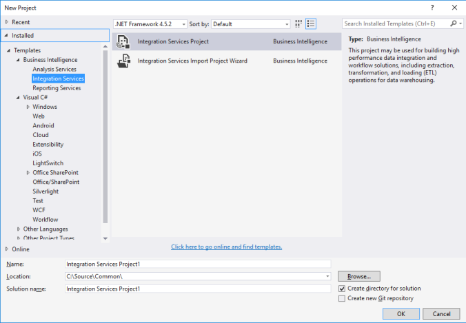 ssis template vs2015