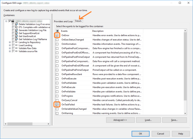 configure SSIS Logs part 2